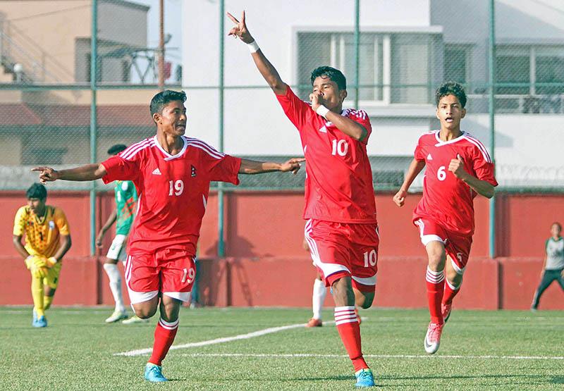 Birjesh Chaudhary celebrates after scoring fourth goal against Bangladesh. Photo: Udipt Singh Chhetry