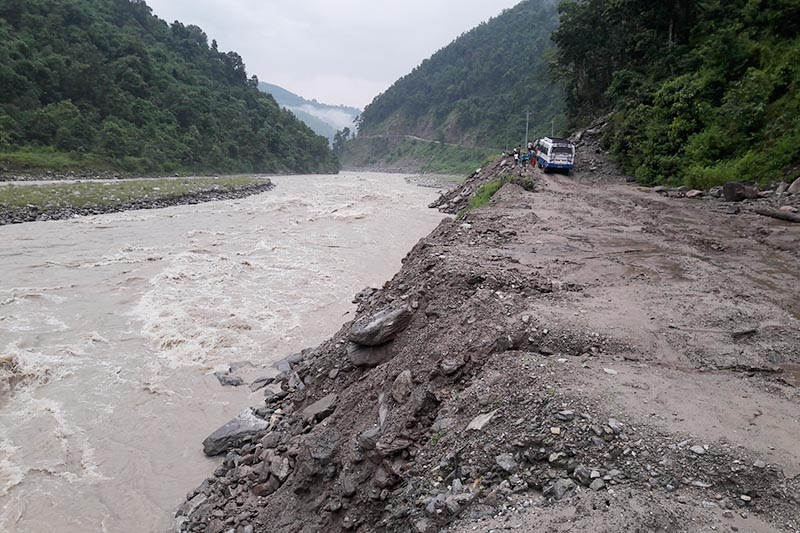 Land erosion caused by the Budhiganga River on the Sanphe-Martadi road at Budhabagar, in Achham, on Tuesday, August 29, 2017. Photo: THT