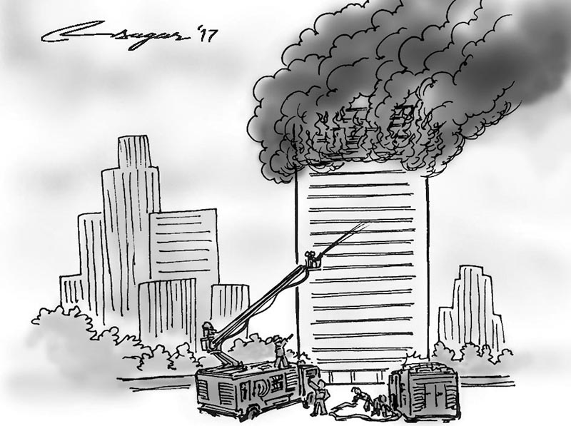 Building engulfed in flames. Illustration: Ratna Sagar Shrestha/THT