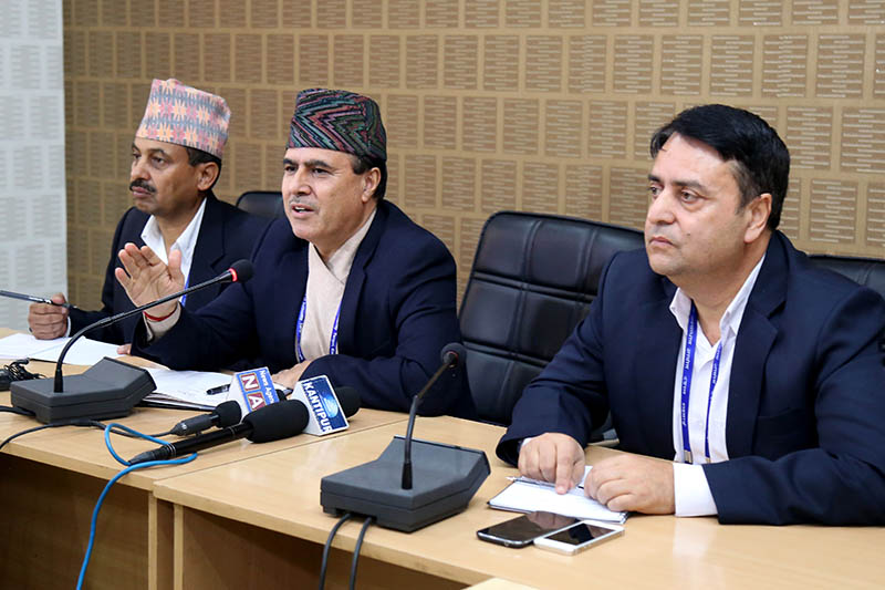 The CIAA officials urging public to call 107 to file corruption case against civil servants, in Kathmandu, on Thursday, August 17, 2017. Photo: RSS