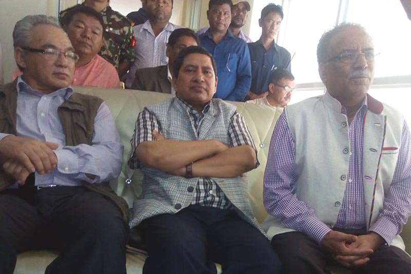 CPN-Maoist Centre Chairman Pushpa Kamal Dahal speaking to mediapersons in Biratnagar, Morang, on Monday, August 28, 2017. Photo: THT