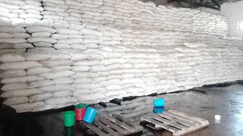 Chemical fertilisers that were inundated at the Regional Office of Agriculture Materials Company Limited, in Biratnagar, Morang, on Thursday, August 17, 2017. Photo: THT