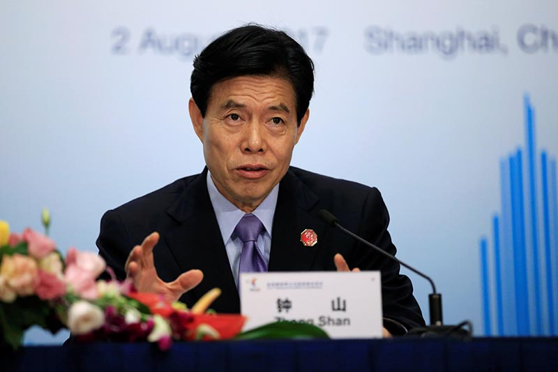 China's Commerce Minister Zhong Shan attends a news conference of BRICS (Brazil, Russia, India, China and South Africa) trade ministers meeting in Shanghai, China,on August 2, 2017. Photo: Reuters