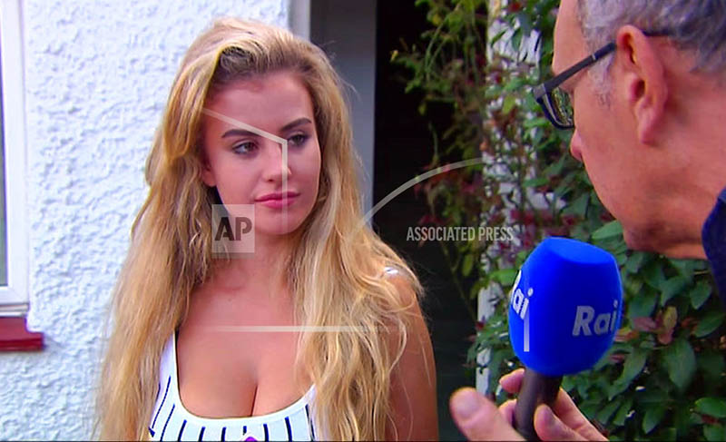 In this image made from video taken on Sunday, Aug. 6, 2017, model Chloe Ayling speaks with the media outside of her house in Surrey, England. Photo: AP
