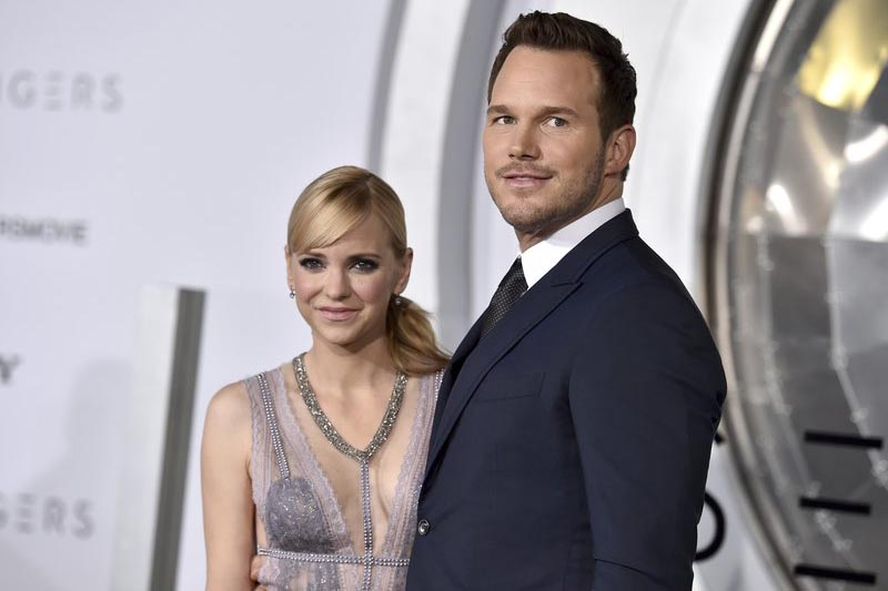 Chris Pratt, right, and Anna Faris arrive at the Los Angeles premiere of u201cPassengersu201dat the Village Theatre Westwood, on December 14, 2016. Photo: AP/ File