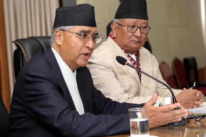 Prime Minister Sher Bahadur Deuba addresses the sixth meeting of the senate of Far Western University held in Singhadarbar, Kathmandu, on Thursday, August 10, 2017. Photo: RSS