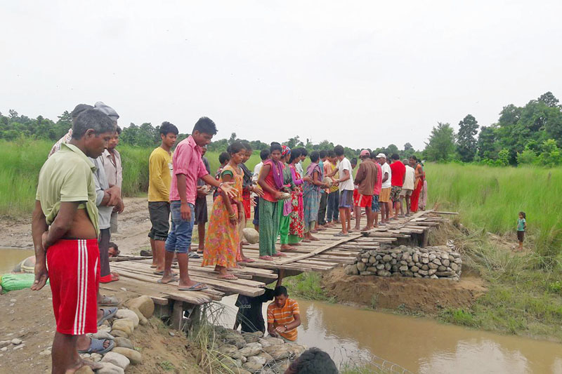 Locals are seen working to contruct a wooden bridge over a local stream in Kanchanpur district, on Tuesday, August 1, 2017. Photo: RSS