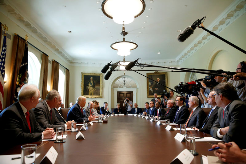 US President Donald Trump speaks during a cabinet meeting at the White House in Washington, US, on July 31, 2017. Photo: Reuters