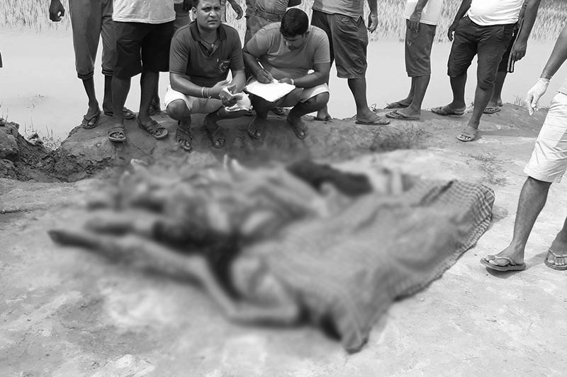 An image of the four girls drowned in a roadside ditch, in Gaur in Saturday, Agust 05, 2017. Photo: Prabhat Kumar Jha