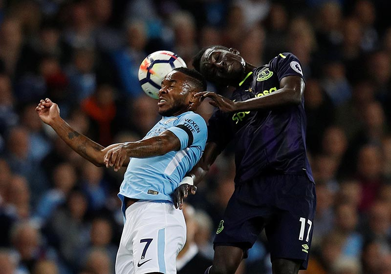 Manchester City's Raheem Sterling in action with Everton's Idrissa Gueye in the Premier League match between Manchester City and Everton, in Manchester, Britain, on August 21, 2017. Photo: Reuters