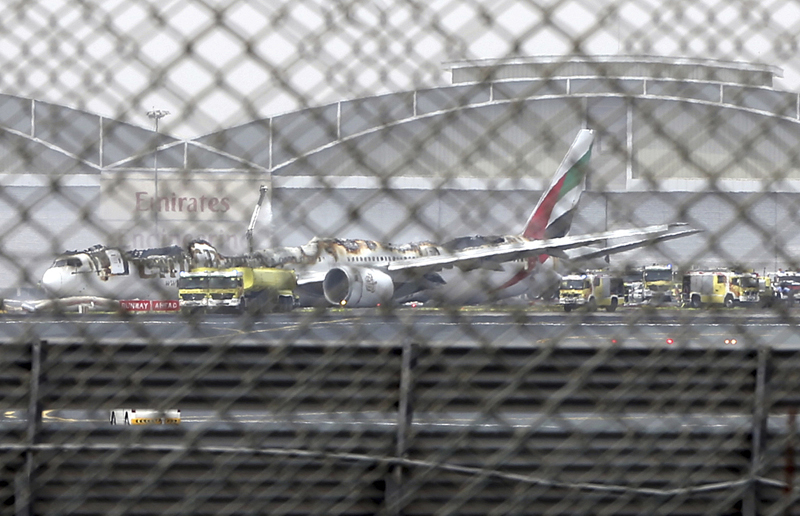 FILE- In this Wednesday, Aug 3, 2016 file photo, a damaged Boeing 777 is seen at the Dubai airport after it crash-landed, in Dubai, United Arab Emirates. Photo: AP