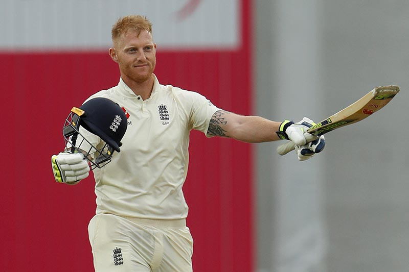 England's Ben Stokes celebrates his century, in the second test match between England and West Indies, in Leeds, Britain, on August 25, 2017. Photo: Action Images via Reuters