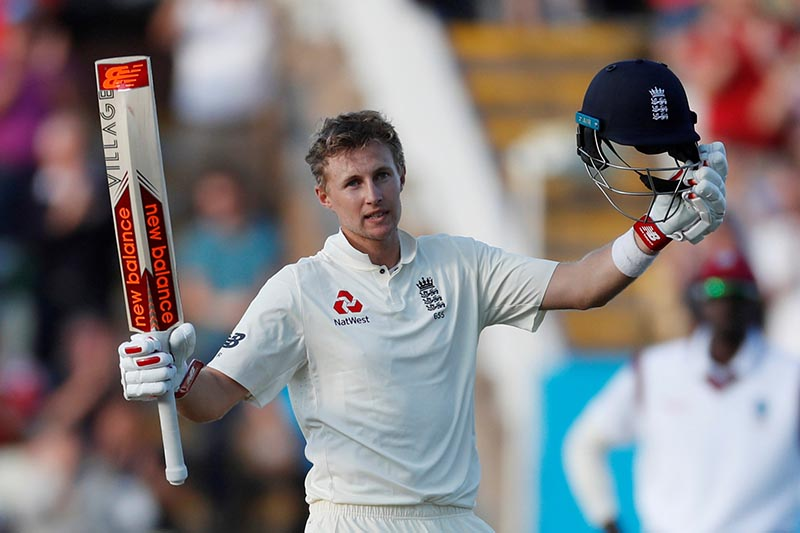 England's Joe Root celebrates scoring a century in the first test match between England and West Indies, in Birmingham, Britain, on August 17, 2017. Photo: Action Images via Reuters