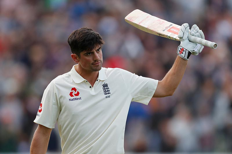 England's Alastair Cook reacts after losing his wicket in the first test match between England and West Indies, in Birmingham, Britain, on August 18, 2017. Photo:  Action Images via Reuters