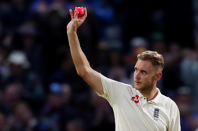 England's Stuart Broad celebrates the wicket of West Indies' Shane Dowrich in frist test match between England and West Indies, in Birmingham, Britain, on August 19, 2017. Photo: Action Images via Reuters