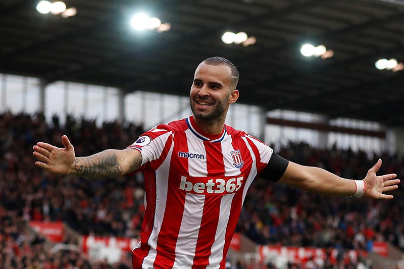 Stoke City's Jese celebrates scoring their first goal in Premier League match between Stoke City and Arsenal, in Stoke-on-Trent, Britain, on August 19, 2017. Photo: Action Images via Reuters