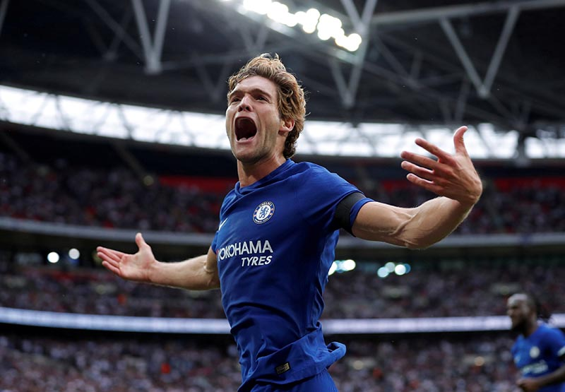 Chelsea's Marcos Alonso celebrates scoring their second goal in the Premier League match between Tottenham Hotspur and Chelsea, in London, Britain, on August 20, 2017. Photo: Action Images via Reuters