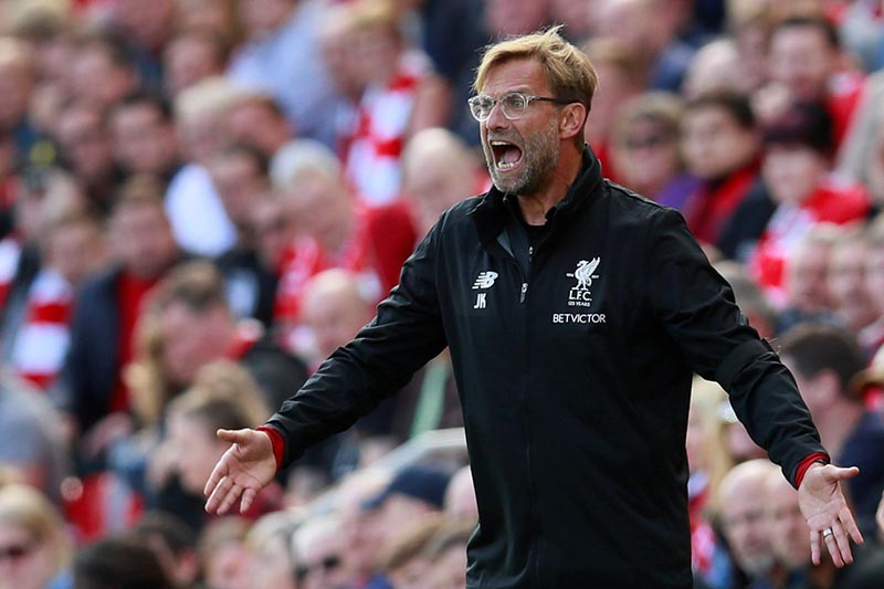 Liverpool manager Juergen Klopp gestures in the Premier League match between Liverpool and Crystal Palace, in Liverpool, Britain, August 19, 2017. PHoto: Action Images via Reuters