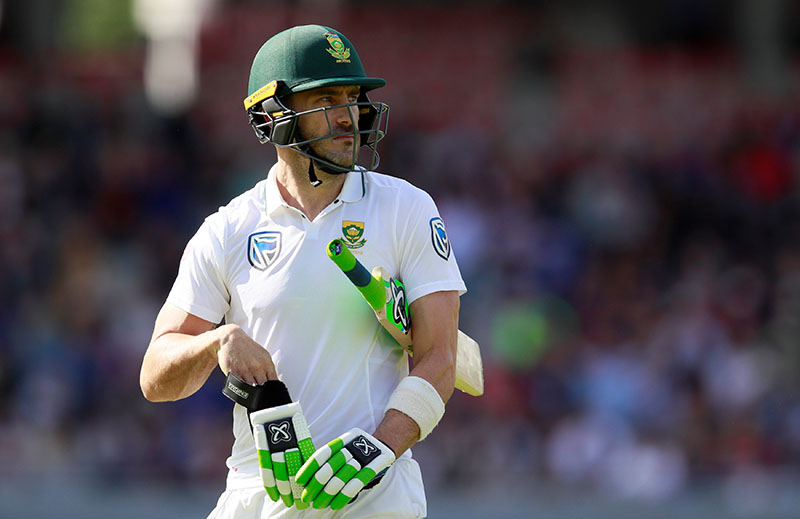 South Africa's Faf du Plessis looks dejected after losing his wicket. Photo: Reuters