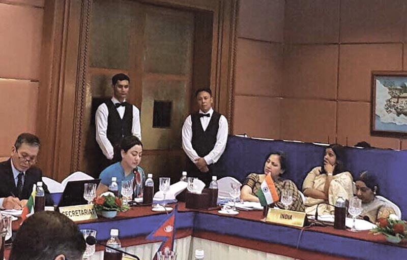 Federation of Nepalese Chambers of Commerce and Industry President Bhawani Rana addressing the 15th BIMSTEC Ministerial Meeting, in Kathmandu, on Friday, August 11, 2017. Photo courtesy: FNCCI