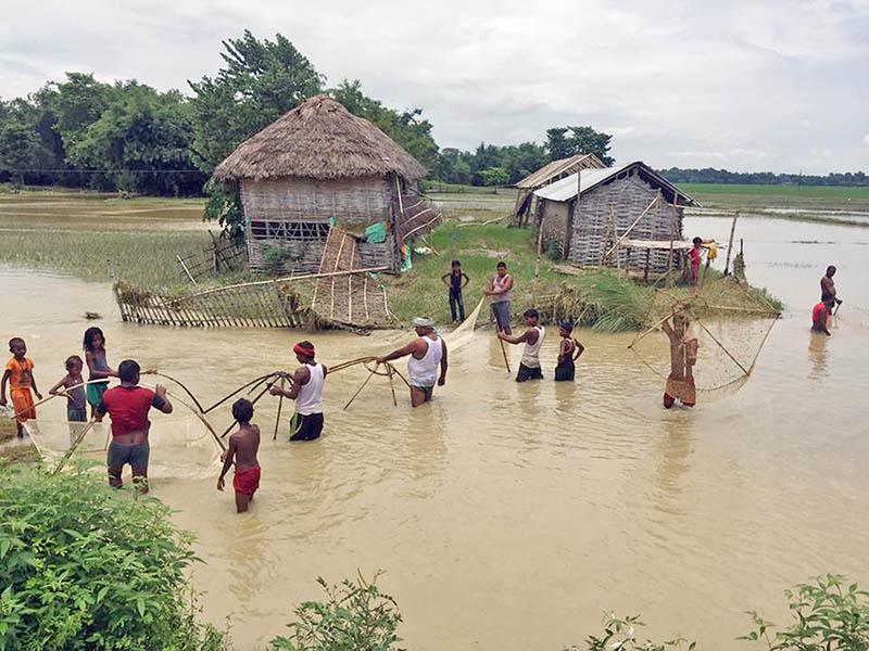 Villagers are seening fishing at a local stream in Saptari district, on Wednesday, August 16, 2017. Photo: RSS