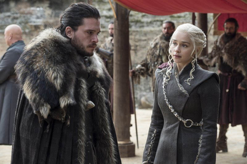 This image released by HBO shows Kit Harington, left, and Emilia Clarke on the season finale of u201cGame of Thrones.u201d Photo: HBO via AP