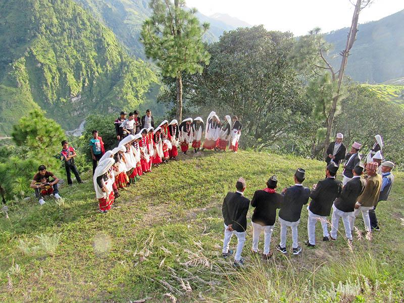 Locals celebrating Gaura Festival in Chaurata in Badimalika Municipality-9 in Bajura district, on Thursday, August 31, 2017. Photo: Prakash Singh