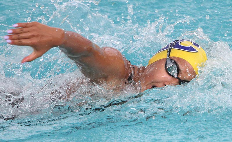 Olympian Gaurika Singh swims during the womenu2019s 50m freestyle event of the NSA Cup Swimming Championship, in Lalitpur on Friday, August 18, 2017. Photo: THT