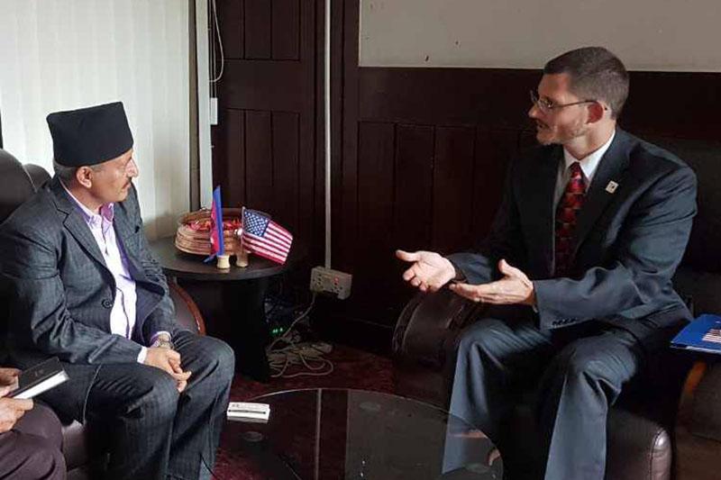 Deputy Chief of Mission at the US Embassy Michael C. Gonzales meets Health Minister Giriraj Mani Pokharel in Kathmandu, on Monday, August 7, 2017. Courtesy: Sunil Khadka