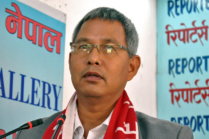 Minister for Land Reform and Management Gopal Dahit speaks at an interaction programme in Kathmandu, on Tuesday, August 8, 2017. Courtesy: Reporters Club