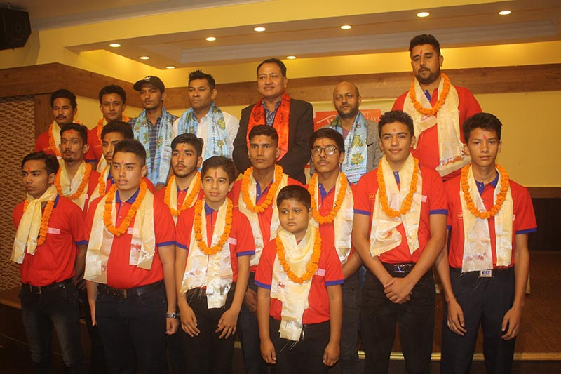 15-member U-19 team of Great Himalaya Cricket Academy pose for photo on Friday, August 18, 2017. Photo: THT
