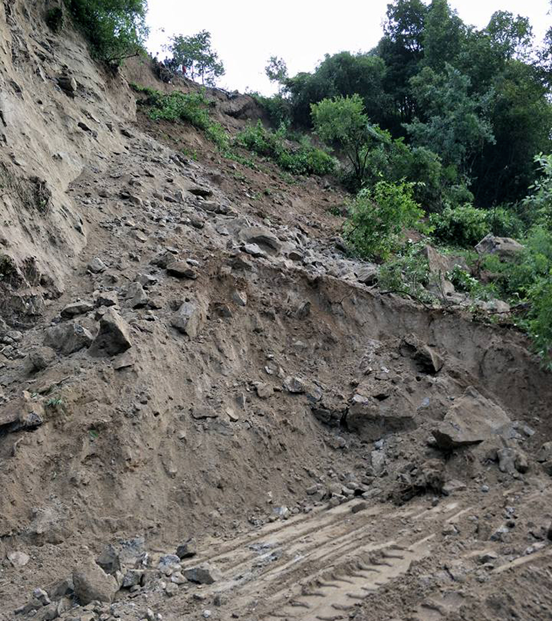 FILE - A view of the road obstructed by a landslide at Gurje Bhanjyang, along the Chhahare-Tokha road section, on Sunday, July 30, 2017. Photo Courtesy: Daiva Sharan Guni