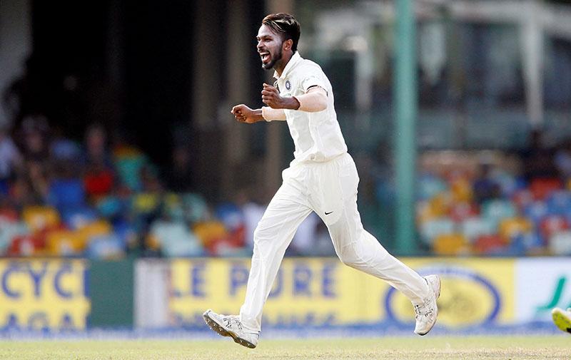 India's Hardik Pandya celebrates after taking the wicket. Photo: Reuters