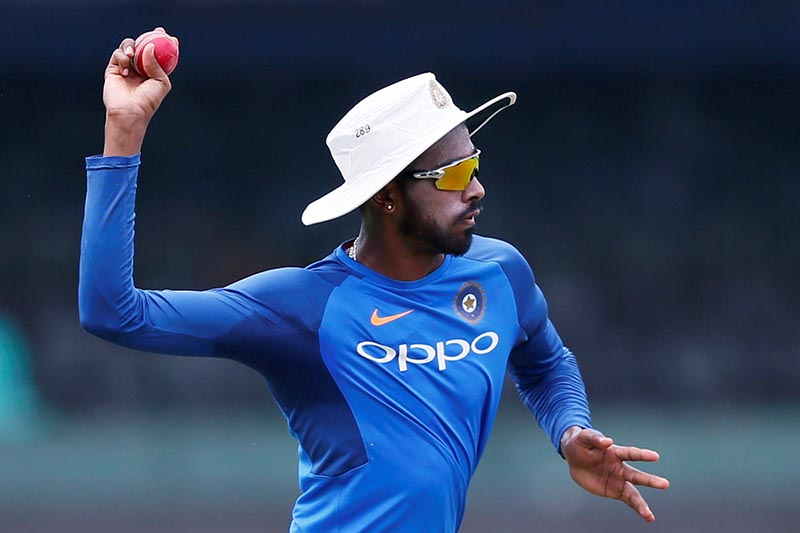 India's Hardik Pandya throws a ball during a team practice session, ahead of their second test match between Sri Lanka and India, in Colombo, Sri Lanka, on August 1, 2017. Photo: Reuters