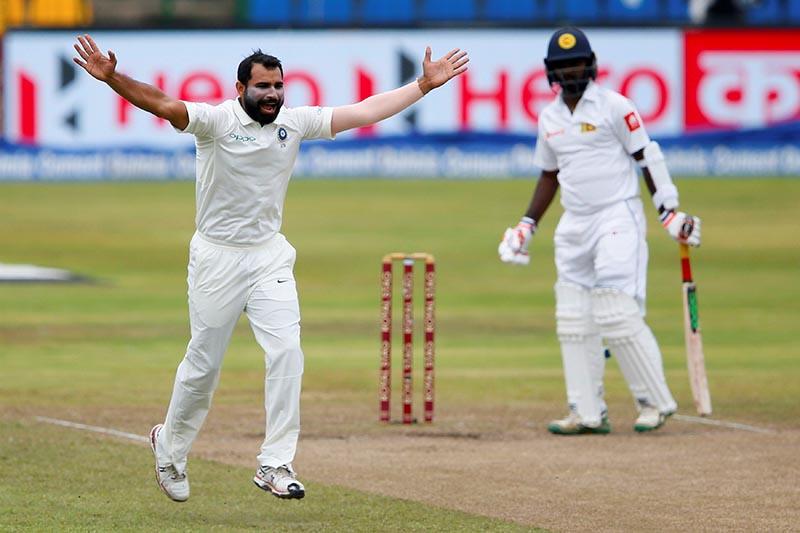 India's Mohammed Shami appeals for an unsuccesful wicket for Sri Lanka's Malinda Pushpakumara in third test match between Sri Lanka, in Pallekele, Sri Lanka, on August 14, 2017. Photo: Reuters