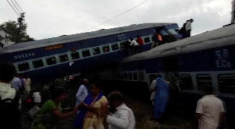 Derailed carriages of Kalinga-Utkal express train are seen in Khatauli, Uttar Pradesh, India in this still taken from video August 19, 2017. ANI/via REUTERS TV    THIS IMAGE HAS BEEN SUPPLIED BY A THIRD PARTY. NO RESALES. NO ARCHIVES. NO ACCESS MEDIACORP/ARD/BBC