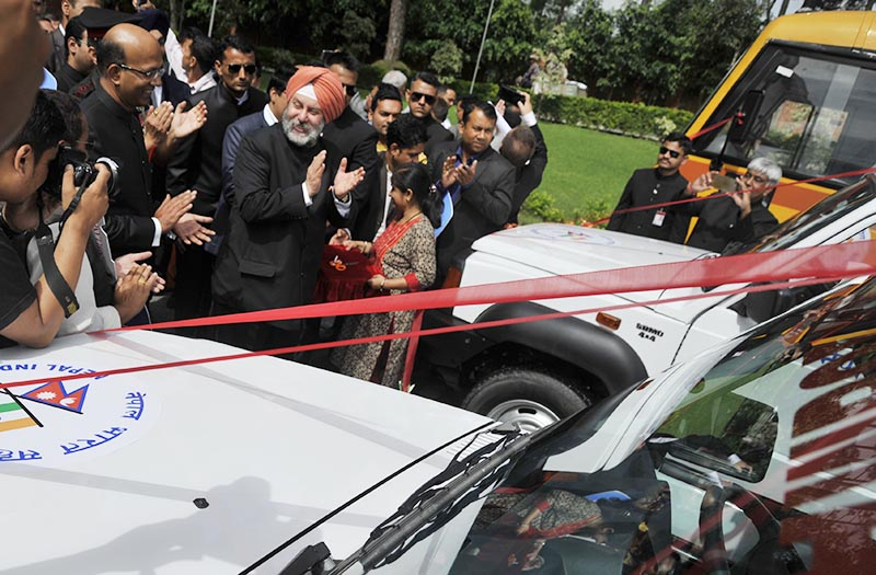 Indian Ambassador Manjeev Singh Puri handing over ambulances and vehicles to hospitals and organisations, in Kathmandu, on Tuesday, August 15, 2017. Photo: THT