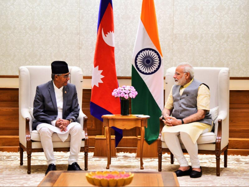 Indian Prime Minister Narendra Modi hosting his Nepali counterpart Sher Bahadur Deuba at his 7 Racecourse Road residence, in New Delhi, on Wednesda, August 23, 2017. Photo courtesy: MEAIndia twitter