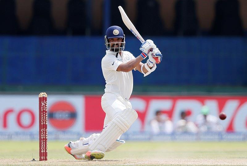 India's Ajinkya Rahane plays a shot. Photo: Reuters