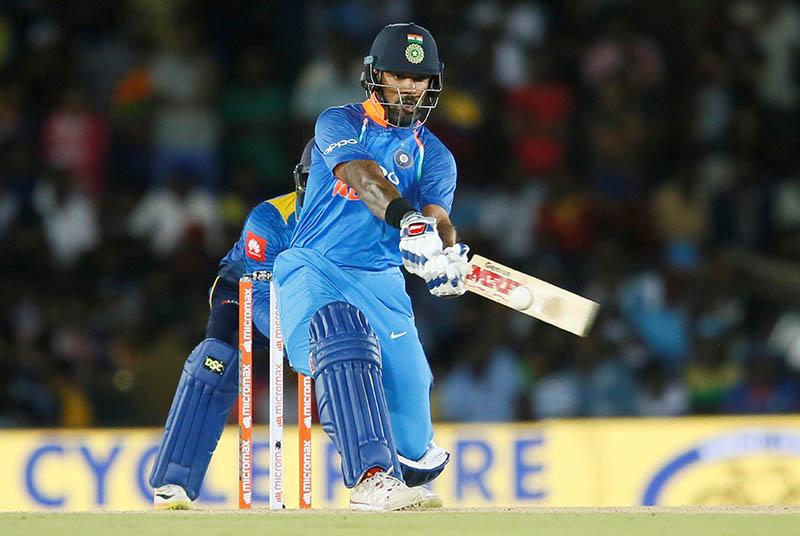 India's Shikhar Dhawan plays a shot. Photo: Reuters