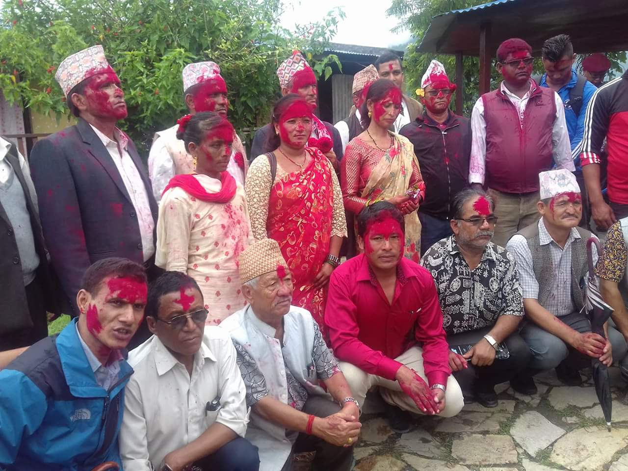 District Coordination Committee members posing for a group photograph after being elected in Khalanga, Jajarkot, on Wednesday, August 2, 2017. Photo: THT