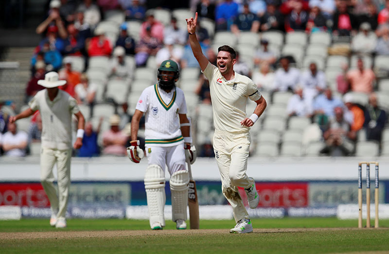 England's James Anderson celebrates taking the wicket of South Africau2019s Heino Kuhn. Photo: Reuters