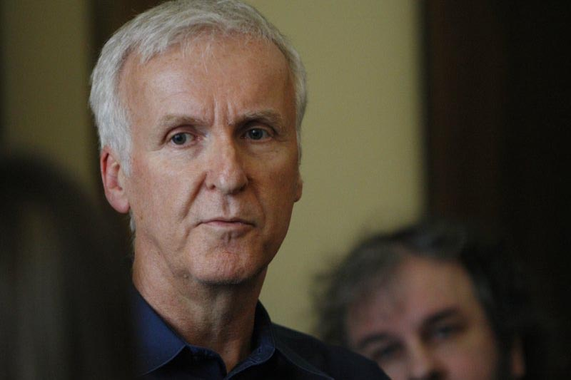Movie director James Cameron talks to reporters at an event to promote the New Zealand film industry in Wellington, New Zealand, on January 14, 2015. Photo: AP/ File