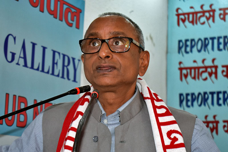 Minister for Culture, Tourism and Civil Aviation Jitendra Narayan Dev speaks at an interaction programme in Kathmandu, on Wednesday, August 9, 2017. Courtesy: Reporters Club