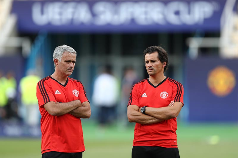 Manchester United manager Jose Mourinho and assistant manager Rui Faria during training, in Skopje, Macedonia, on August 7, 2017. Photo: Reuters