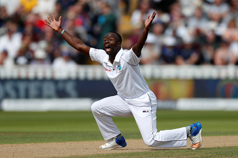 West Indies' Kemar Roach appeals for a wicket. Photo: Reuters