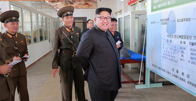 North Korean leader Kim Jong-Un smiles during a visit to the Chemical Material Institute of the Academy of Defense Science in this undated photo released by North Korea's Korean Central News Agency (KCNA) in Pyongyang, on August 23, 2017. Photo: KCNA via Reuters