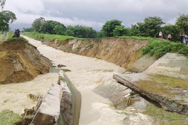 Flood eroding a canal in Koshi Pump Irrigation System in Rajbiraj, Saptari, on Sunday, August 27, 2017. Photo: THT