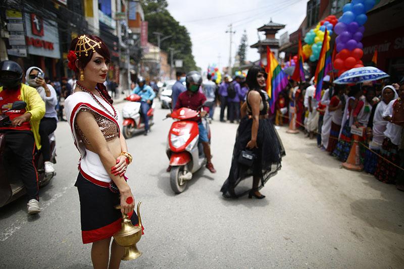 Revellers observe pride parade of LGBT community organised on the oaccasion of Gaijatra in Kathmandu. Photo: Skanda Gautam