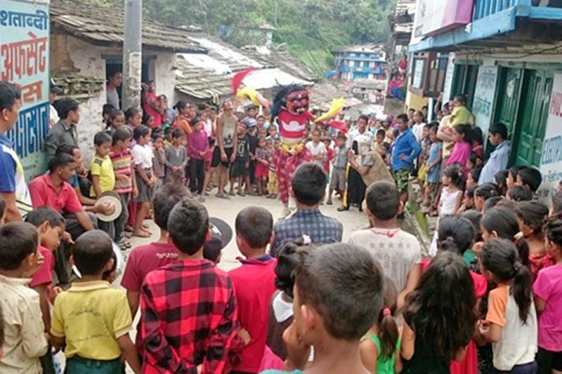Locals observe Lakhe Dance at Khalanga bazaar in Jajarkot district, on Thursday, August 3, 2017. Photo: Dinesh Shrestha